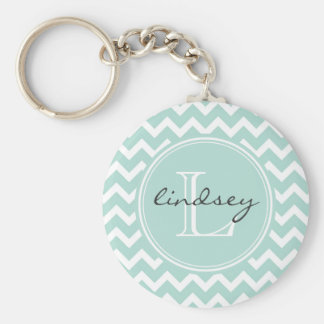 Mint Chevron with Custom Monogram Keychain