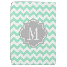 Mint Chevron With Gray Monogram Ipad Air Cover at Zazzle