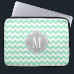 "Mint Chevron with Gray Monogram Laptop Sleeve<br><div class=""desc"">Design by Pastel Crown.</div>"