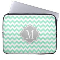Mint Chevron with Gray Monogram Laptop Sleeve