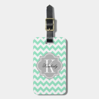Mint Chevron with Gray Monogram Luggage Tag