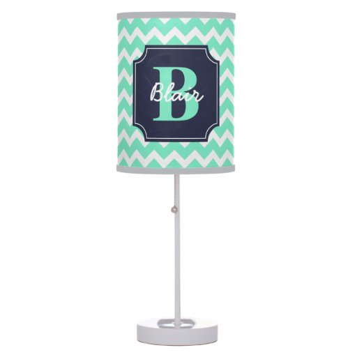 Mint Chevron with Navy Frame Name and Initial Table Lamp