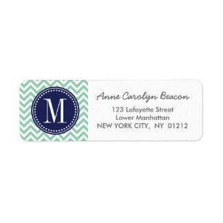 Mint Chevron Zigzag Personalized Monogram Label