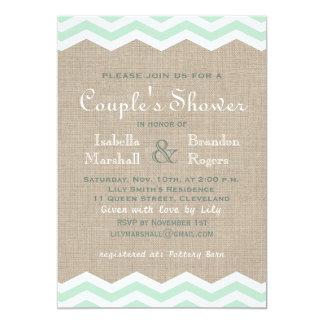 Mint Chevrons on Burlap Couple's Shower Invite