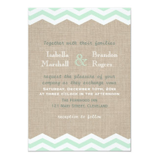 Mint Chevrons on Burlap Wedding Invitation