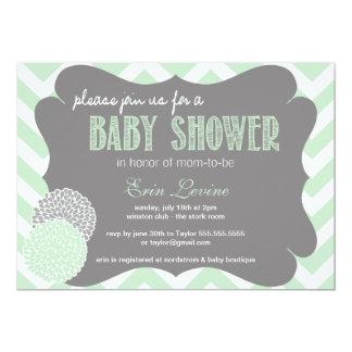 Mint Chic Chevron Baby Shower Invitation