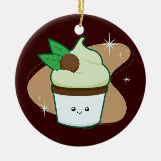 Mint Chip Cupcake Ceramic Ornament