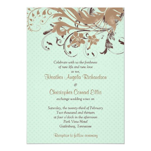 "Mint Chocolate Brown Vintage Floral Wedding 5"" X 7"" Invitation Card"