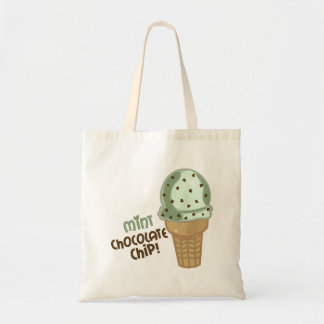 Mint Chocolate Chip with text Tote Bag