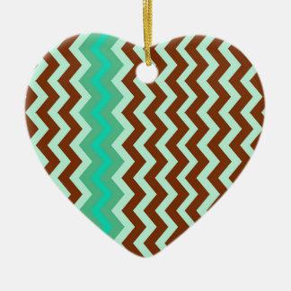 Mint Chocolate Chip Zigzags Ceramic Ornament