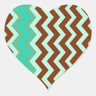 Mint Chocolate Chip Zigzags Heart Sticker