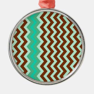 Mint Chocolate Chip Zigzags Metal Ornament