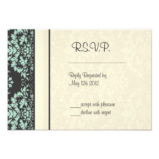 Mint Chocolate Damask Wedding Announcements
