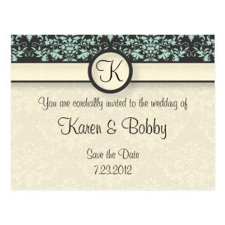 Mint Chocolate Damask Wedding Post Card