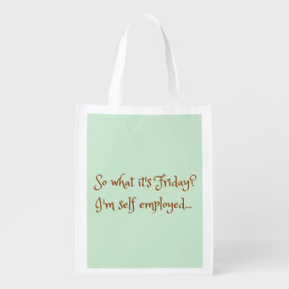 Mint Chocolate Funny Self Employed Typography Grocery Bag