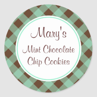 Mint Chocolate Gingham Kitchen Gift Tags Stickers