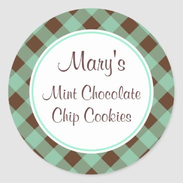 Professional Business Mint Chocolate Gingham Kitchen Gift Tags Stickers