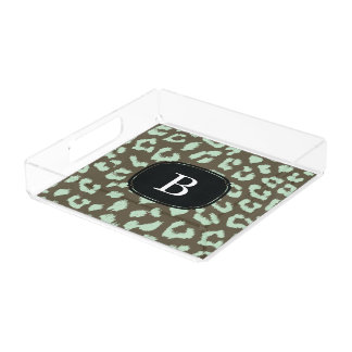 Mint Chocolate Leopard Print Tray with Monogram Square Serving Trays