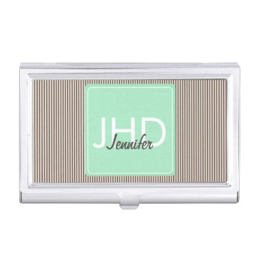 Professional Business Mint Chocolate Monogrammed Business Card Holder