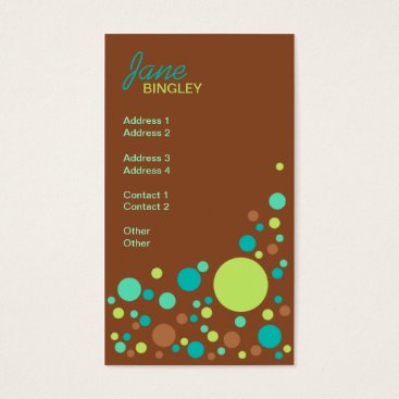 Professional Business Mint Chocolate Retro Dots Business Card
