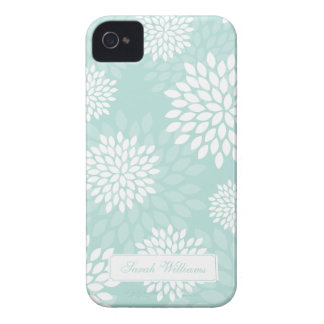 Mint Chrysanthemums Floral Pattern iPhone 4 Cover
