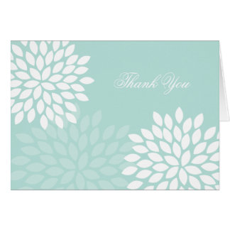 Mint Chrysanthemums Wedding Folded Thank You Notes Stationery Note Card