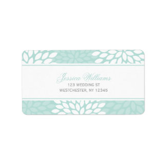 Mint Chrysanthemums Wedding Personalized Address Labels
