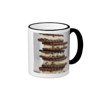 mint cocoa nib ice cream with chocolate cookies coffee mugs