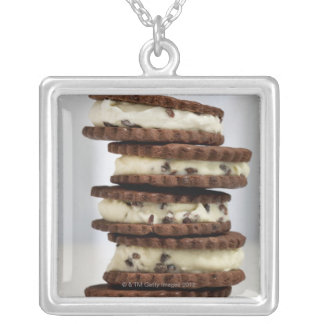 mint cocoa nib ice cream with chocolate cookies square pendant necklace