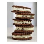 mint cocoa nib ice cream with chocolate cookies postcard