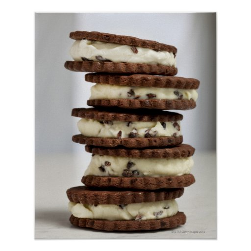 mint cocoa nib ice cream with chocolate cookies poster