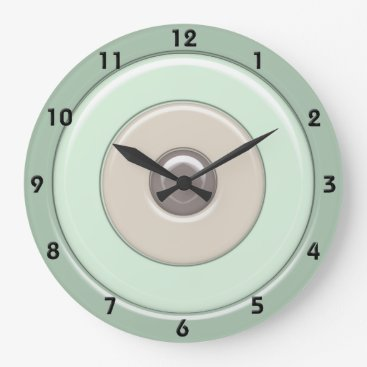 Coffee Themed Mint & Coffee Circles & Bullseye with numbers Large Clock