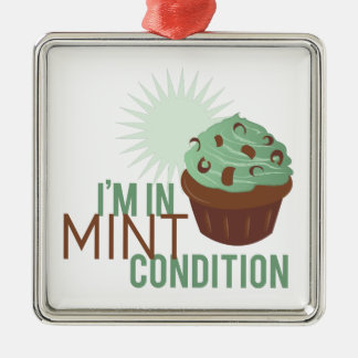 Mint Condition Adorno Navideño Cuadrado De Metal