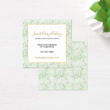 Professional Business Mint Confetti Dots with Gold Square Business Card