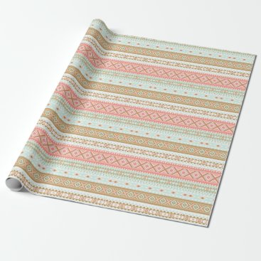 Aztec Themed Mint Coral Aztec Tribal Gift Wrap