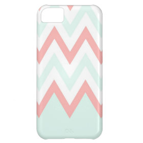 Mint & Coral Chevron Block iPhone 5C Cases