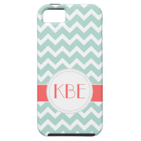 Mint & Coral Chevron Custom Monogram iPhone 5 Cover