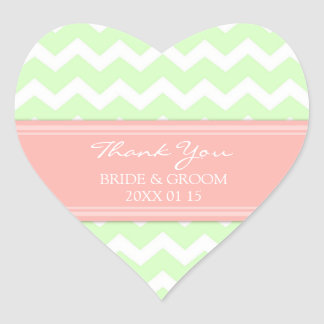 Mint Coral Chevron Thank You Wedding Favor Tags Heart Sticker