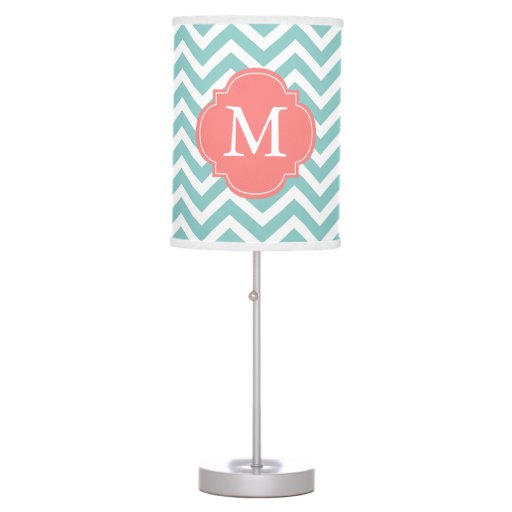 Mint & Coral Chevrons Pattern Monogrammed Table Lamp