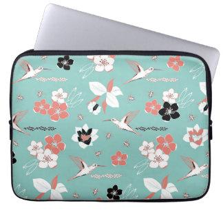 Mint coral flowers, bees, hummingbirds laptop case fundas portátiles