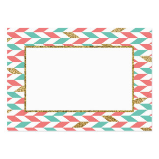 Mint Coral Gold Chevron Scatter Business Card