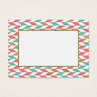 Professional Business Mint Coral Gold Chevron Scatter Business Card