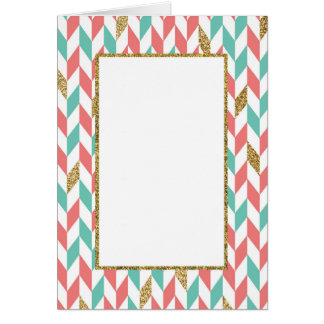 Mint Coral Gold Chevron Scatter Greeting Card