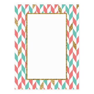 Mint Coral Gold Glitter Chevron Scatter Post Card