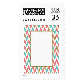 Mint Coral Gold Glitter Chevron Scatter Stamps