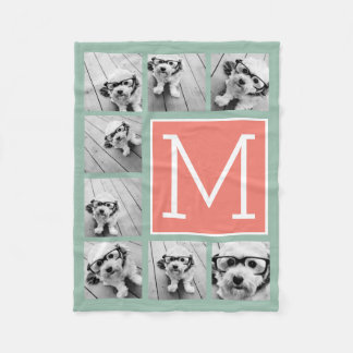 Mint & Coral Instagram 8 Photo Collage Monogram Fleece Blanket