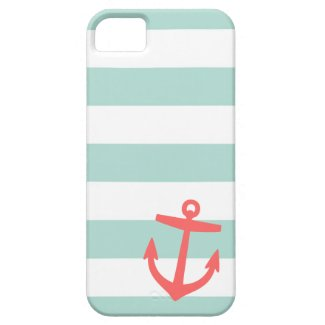 Mint & Coral Nautical Stripes and Cute Anchor iPhone 5 Cover