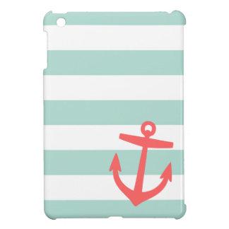 Mint Coral Nautical Stripes and Cute Anchor iPad Mini Cover