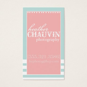 Professional Business Mint & coral preppy social media business card