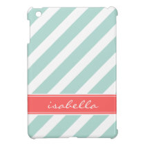 Mint & Coral Preppy Stripes Monogram iPad Mini Case